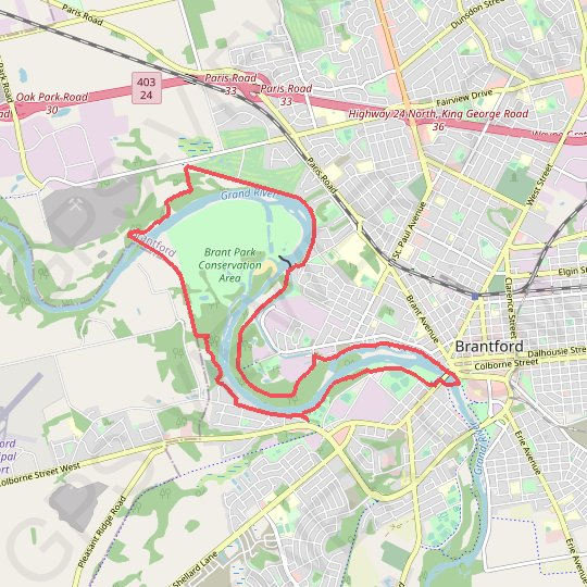 Brant Park Conservation Area - Grand River GPS track, route, trail