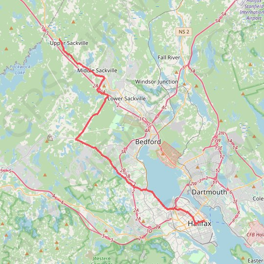 Halifax - Upper Sackville GPS track, route, trail